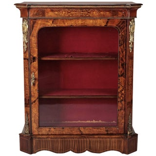 French Burl Wood Pier Cabinet with Ormolu Mounts