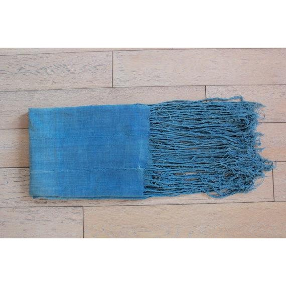 Vintage African Indigo Fringe Throw Blanket - Image 2 of 5