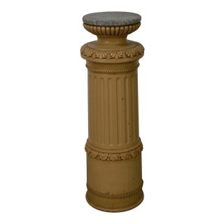 Antique Carved Faux Painted Pedestal w/ Marble Top