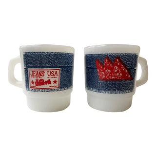 "Vintage ""Jeans USA"" Stackable Mugs - A Pair"