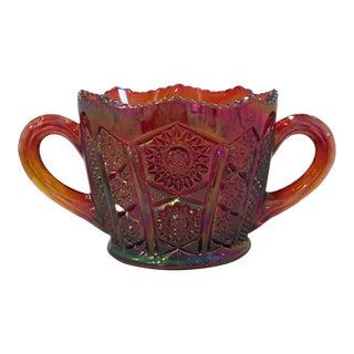 Indiana Glass Amberina Heirloom Carnival Glass Sugar Bowl