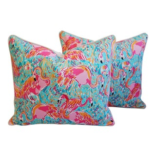 "24"" X 22"" Lilly Pulitzer-Inspired/Style Tropical Pink Flamingo Pillows - Pair"