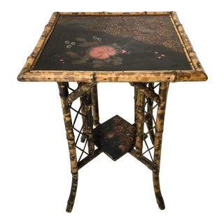 Antique Chinoiserie Burnt Bamboo Side Table