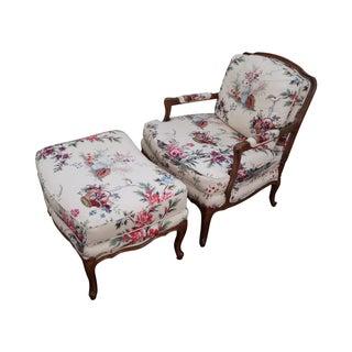 Baker Louis XV Fauteuil Chaise Lounge/Ottoman Set