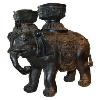 A Medium Sized Brown 19th c. Bronze Elephant
