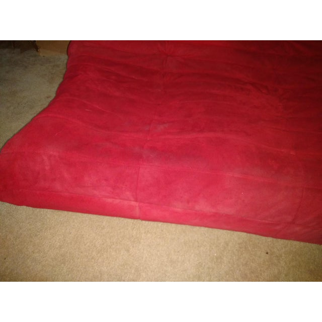 Ligne Roset Togo Red Suede Loveseat Couch - Image 11 of 11