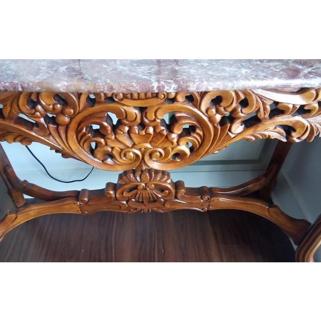 Marble Top Carved Wood Console Table - Image 3 of 5