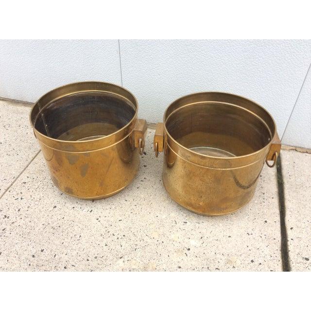 Large Vintage Modern Brass Planters - Image 3 of 7