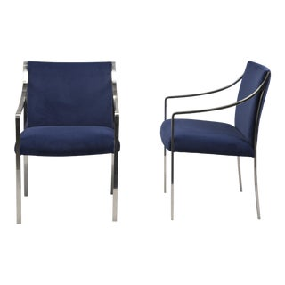 Pair Bert England for Stow Davis Steel Frame Arm Chairs