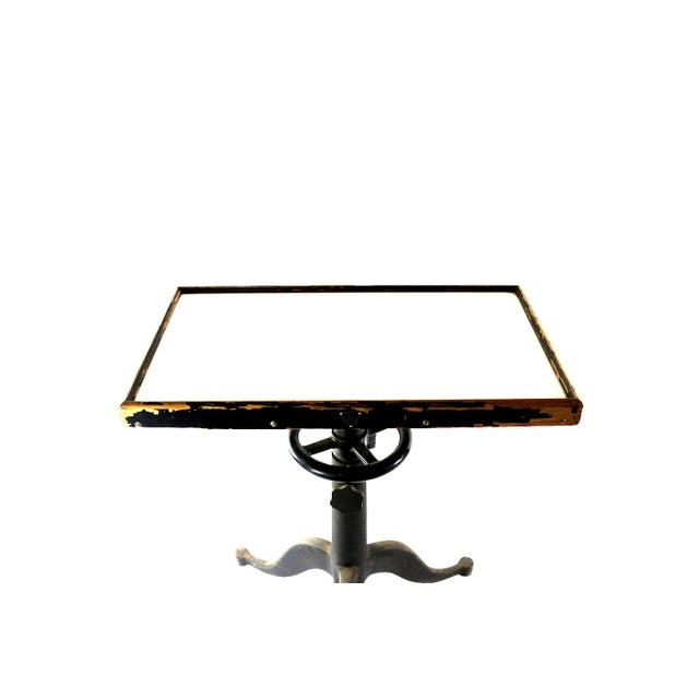 1920s optical milk glass top cast iron table chairish for Cast iron table with glass top