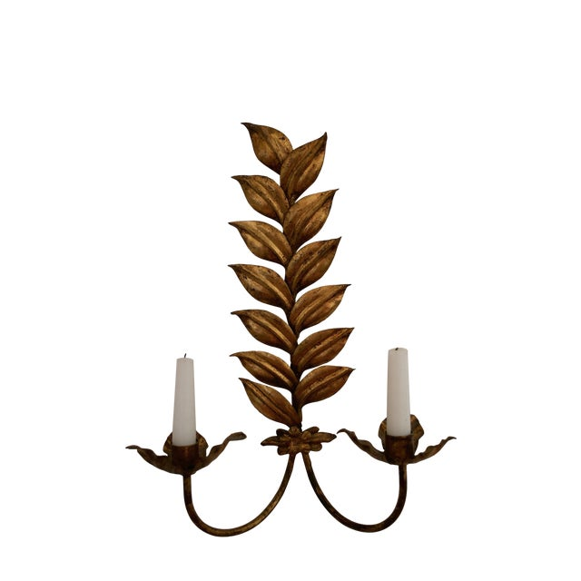 Image of Vintage Gilt Metal Leaf Double Candle Wall Sconce