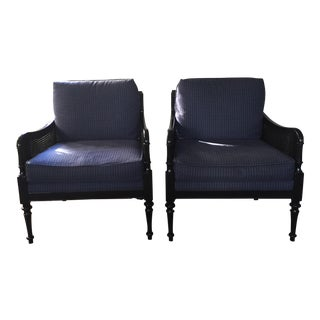 Baker Milling Road Navy Blue & Black Cane Chairs - A Pair