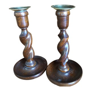 English Wooden Barley Twist Candlesticks- A Pair