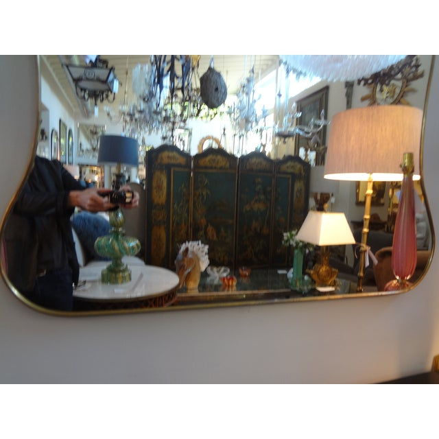 Italian Gio Ponti Inspired Brass Mirror - Image 3 of 7