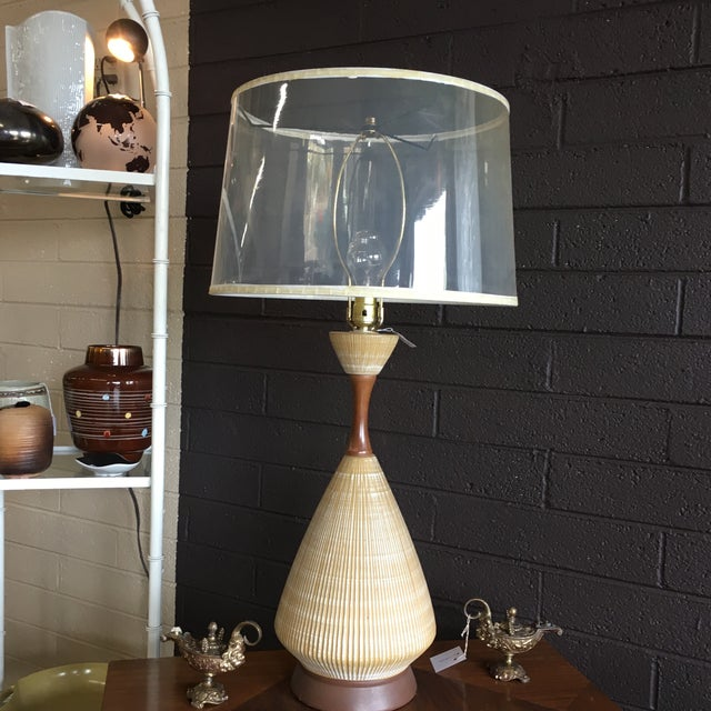 Image of Midcentury Modern Ceramic and Walnut Table Lamp