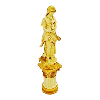 "Vintage Alexander Backer Co. ""E. Peynot L'Angelus"" Chalkware Statue"