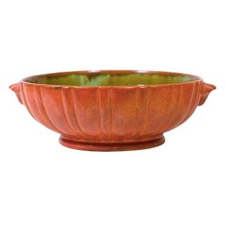 Large Orange & Green Art Pottery Bowl