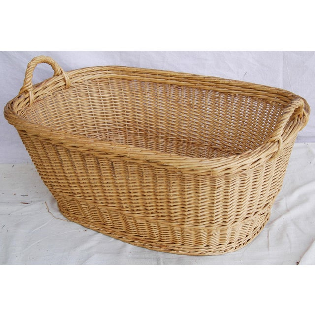 Vintage French Oval Wicker Market Basket - Image 8 of 10