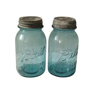 Vintage Blue Ball Jars With Tin Lids - 2