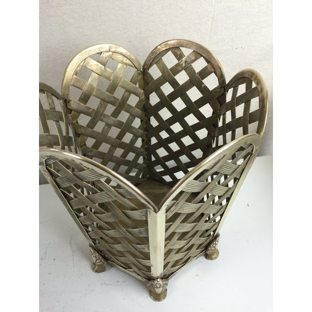 Vintage Woven Brass Wastebasket - Image 4 of 6