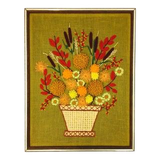 Retro Framed Floral Needlepoint