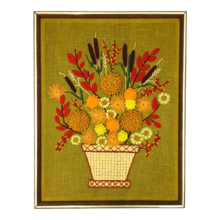 Retro Framed Floral Needlepoint