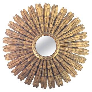 Large Italian Giltwood Sunburst Mirror