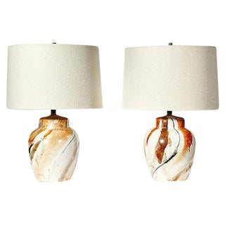1970s Swirl Ceramic Barrel Lamps - A Pair