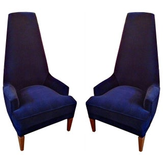 Mid-Century Midnight Blue High Chairs - A Pair