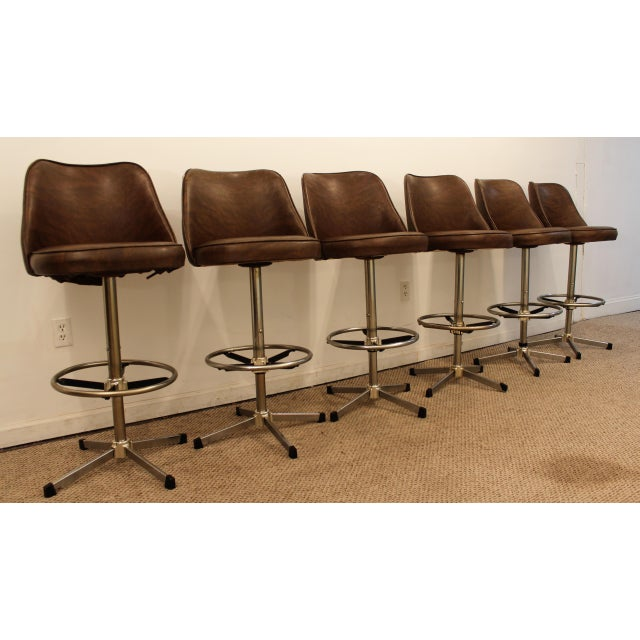 Danish Modern Admiral Chrome Swivel Stools - Set of 6 - Image 2 of 11