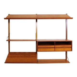 Danish Modern Teak Floating Adjustable Desk Wall Unit Bookcase by Carlo Jensen for Hundevad & Co