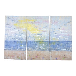XL Triptych of Sky and Beach Signed
