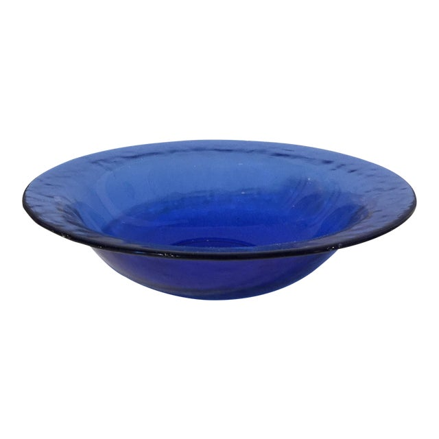 Image of Mid-Century Blue Glass Bowl