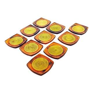 Mid-Century Tortoiseshell Lucite Coasters - Set of 10