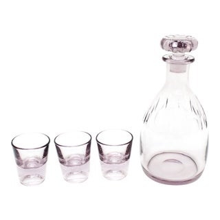 Amethyst Art Deco Decanter and Glasses - Set of 4