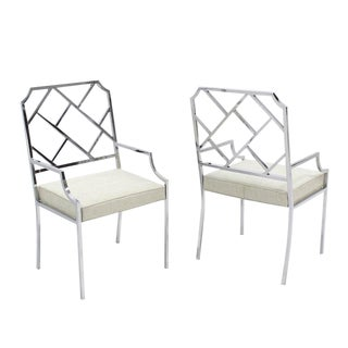 New Upholstery Pair of Chrome Wide Ladder Back Chrome Chairs