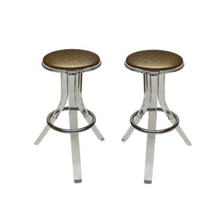 Charles Hollis Jones Lucite Barstools - A Pair