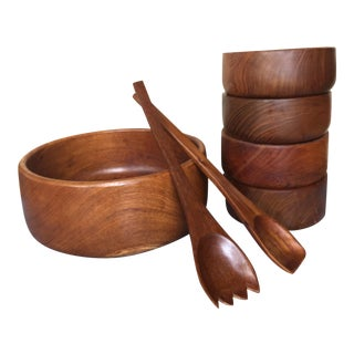 Goodwood Teak Bowls, Serving Bowl and Utensils - 7 Pieces