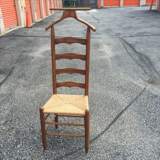 Vintage Rush Wood Ladder Back Valet Chair - Image 2 of 11 - Vintage Rush Wood Ladder Back Valet Chair Chairish