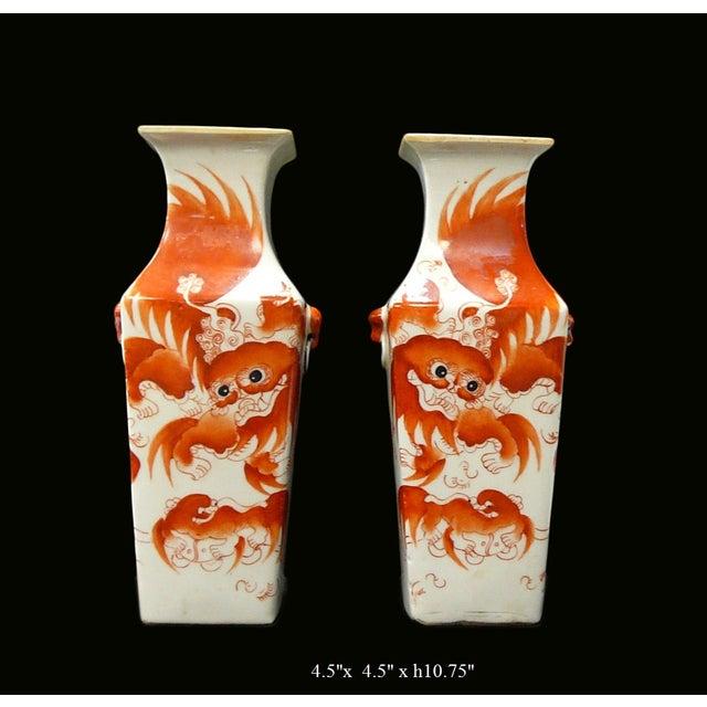Chinese White Porcelain Orange Foo Dog Vase - Pair - Image 2 of 5