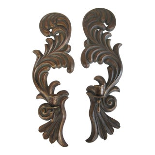 Scroll Candle Sconces - A Pair