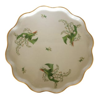 Limoges Green Floral Tray