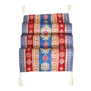 Turkish Red & Blue Kilim Patterned Table Runner