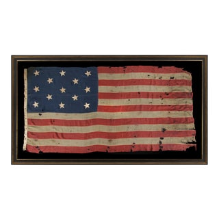 13 Hand-Sewn Stars In A 3-2-3-2-3 Configuration Of Lineal Rows On A Large Scale Antiques American Flag