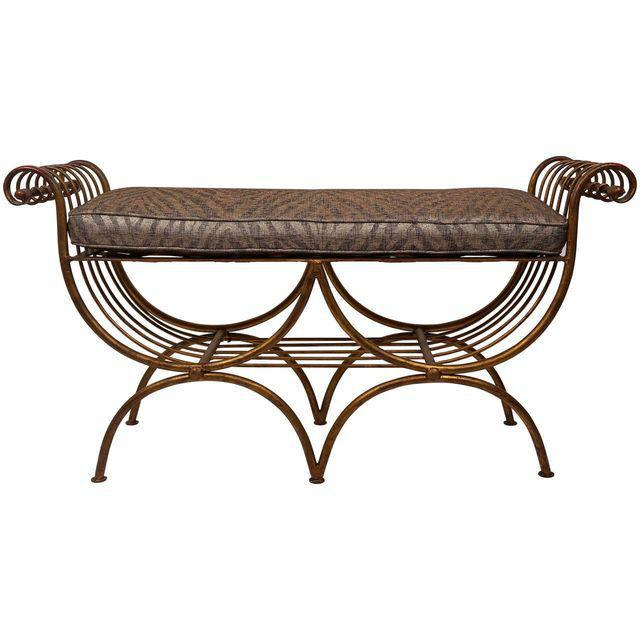 Hollywood Regency Style Gold Gilt Metal Tiger Pattern Fabric Cushion Bench - Image 1 of 10