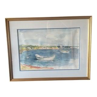 Boats at Shore Watercolor Painting