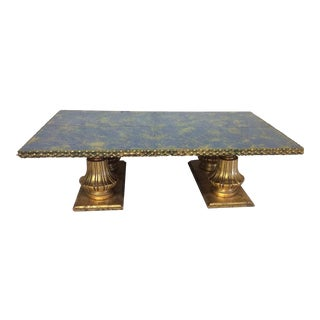 Monumental Italian Gold Gilt Carved Wood & Painted Glass Top Coffee Table