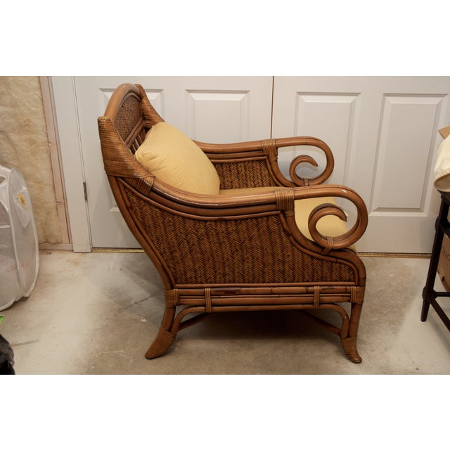 Rattan Wicker Chair & Ottoman W/ Upholstered Seat - Image 5 of 9