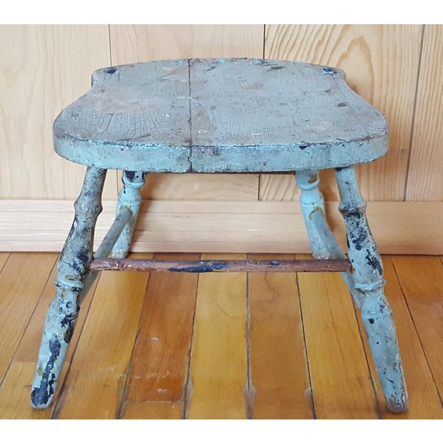 Vintage Blue Chippy Wood Stool - Image 2 of 5