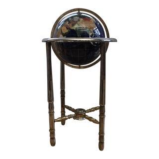 Precious and Semi-Precious Stone Brass Floor Globe